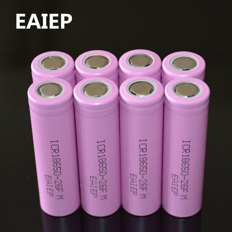 Набор аккумуляторов 18650 8 шт, перезаряжаемые Li-ion батареи, 3,7 В, 2600 мА·ч, EAIEP, ICR18650-26FM, безопасны в использовании, для промышленного применения