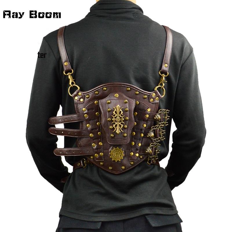 High Quality Vintage Steampunk PU Leather Cosplay Arm Bag Fashion Design Rivet Skull Men Bag Multi-function Rock Motorcycle Bag