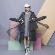 Fashion patchwork PU cartoon bear stereo pleated gauze with a hood wadded  cotton-padded  female