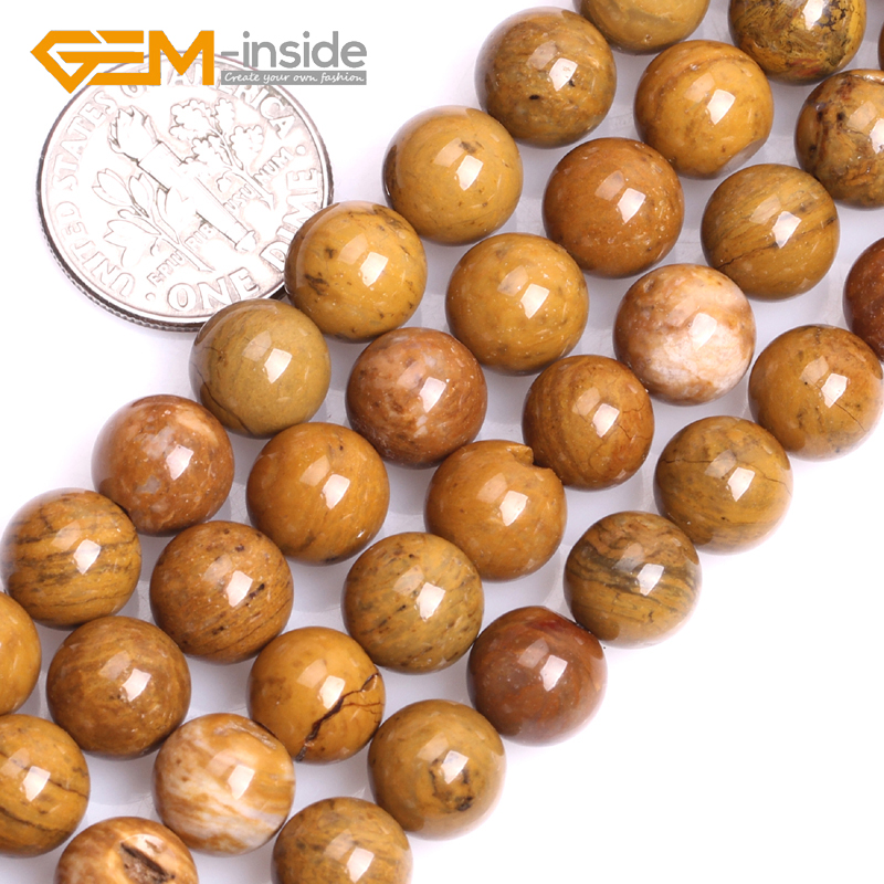 "8mm 10mm Natural Yellow Petrified Silicified Wood Jaspers Stone Round Shape Beads for Jewelry Making DIY 15"" Wholesale"