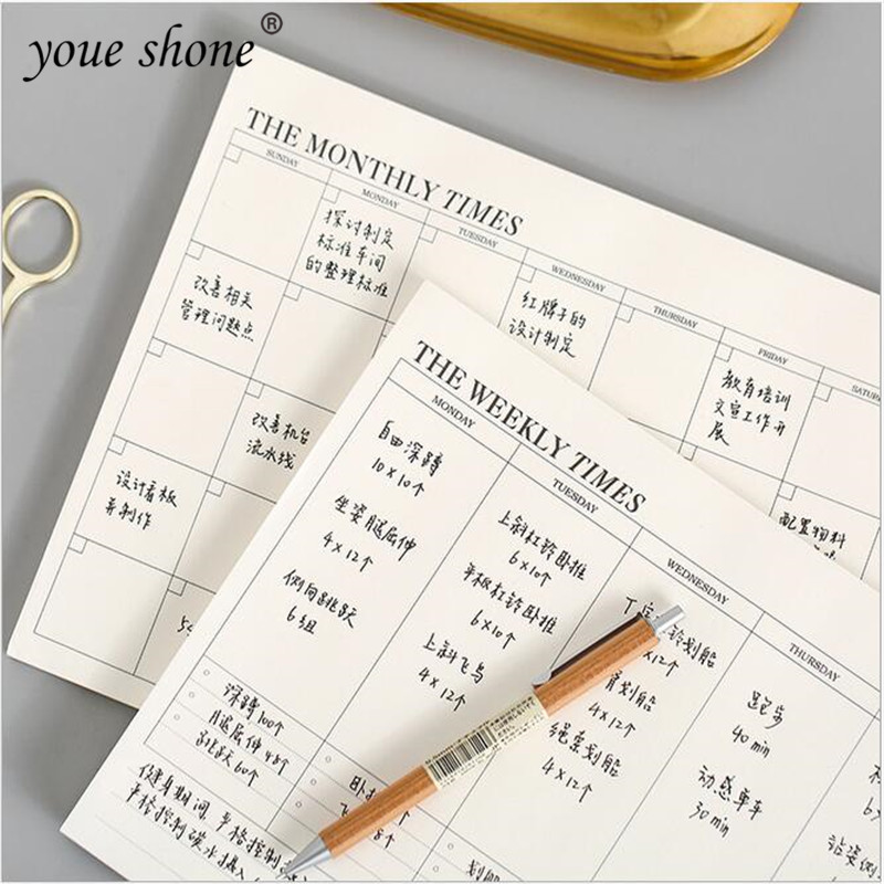60 sheet Simple business Planner Notebook Office Supplies School Stationery Monthly Weekly Planner Day Planner Book Stationery