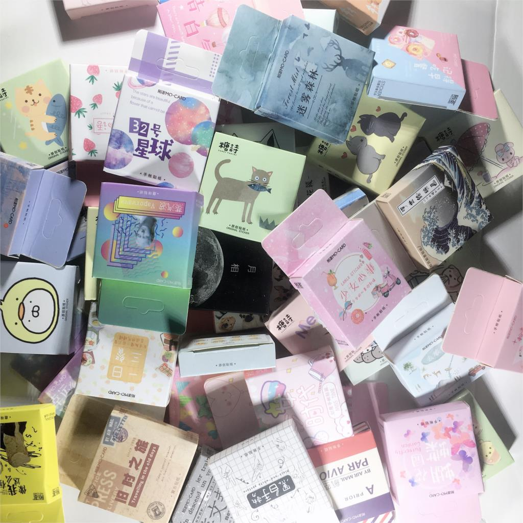 Cute Cat Label Kawaii Diary Handmade Adhesive Paper Flake Japan Vintage Box Mini Sticker Scrapbooking Bullet Journal Stationery