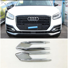 Lapetus Auto Styling Front Head Fog Lights Foglight Lamp Eyelid Eyebrow Cover Trim ABS Chrome Fit For Audi Q2 2017 2018 2019