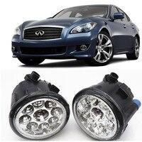 Car Styling For Infiniti M37 M56 2011 2012 2013 Q70 2014 9 Pieces Leds Fog Lights H11 H8 12V 55W Halogen LED Fog Head Lamp
