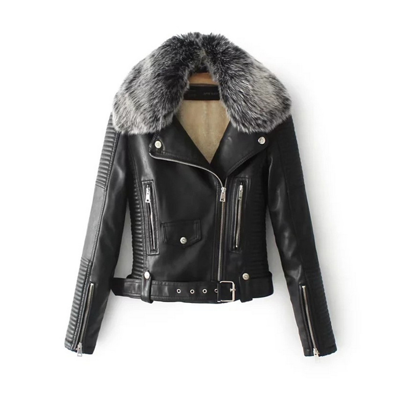 womens leather biker jacket with fur