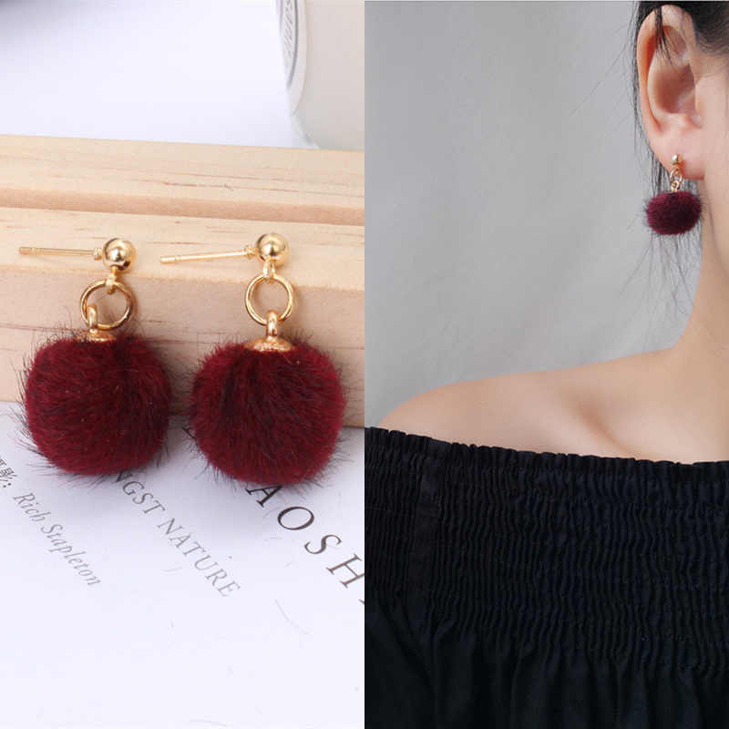 2019 New Arrivals Hot Women's Fashion Hairball Metal Ball Earrings Bijoux Simple Plush Ball Drop Earrings For Women Jewelry