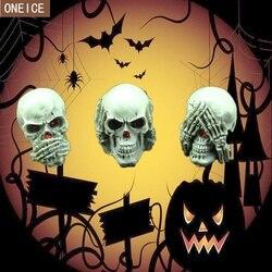 3 pcs Horror Crânio Humano Resina Estátua Mini Handmade Criativo Halloween Adereços Crânio Escultura Estátua de Decoração Para Casa de Presente