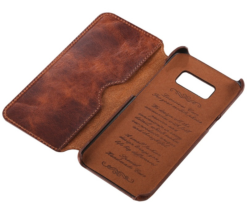 Dark brown real leather case for samsung galaxy s8 s 8 genuine leather cover CASEs