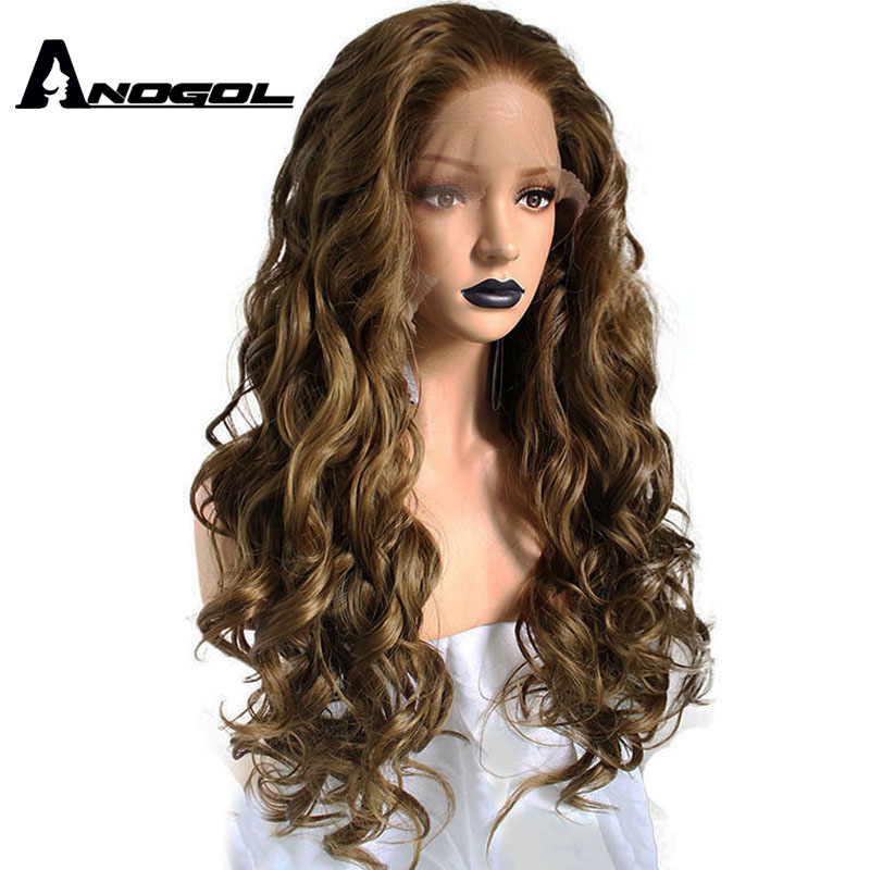 Anogol High Temperature Fiber 360 Frontal Long Body Wave Full Hair Wigs Blonde Synthetic Lace Front Wig For Black Women Costume