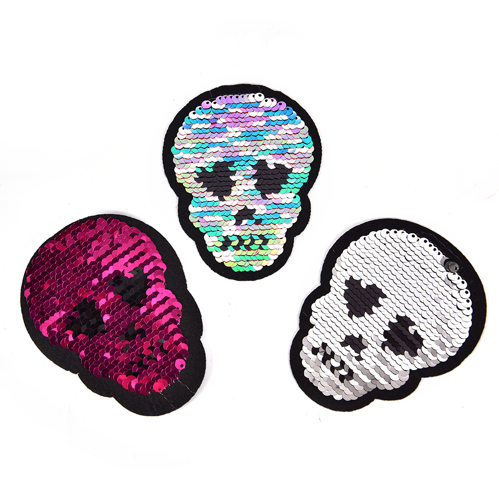 1pc Skull Head Reversible Sequins Sew On Patches DIY Applique Bag Clothing//CoatS