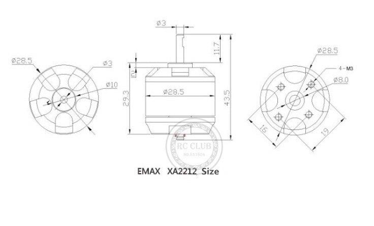 EMAX XA2212 980KV Brushless 820KV Do Motor