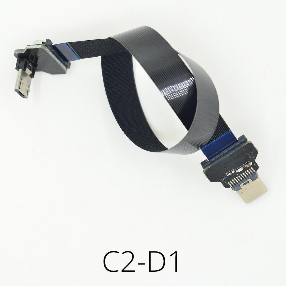 Nouveau Micro HDMI Pour micro HDMI 30 cm FLEXIBLE Plat Câble Ruban Pour FPV