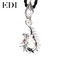 EDI Woman/Men 925 Sterling Thai Silver Necklace Fine Jewelry Ruby Retro Personality Design Dragon Pendant Necklace For Women