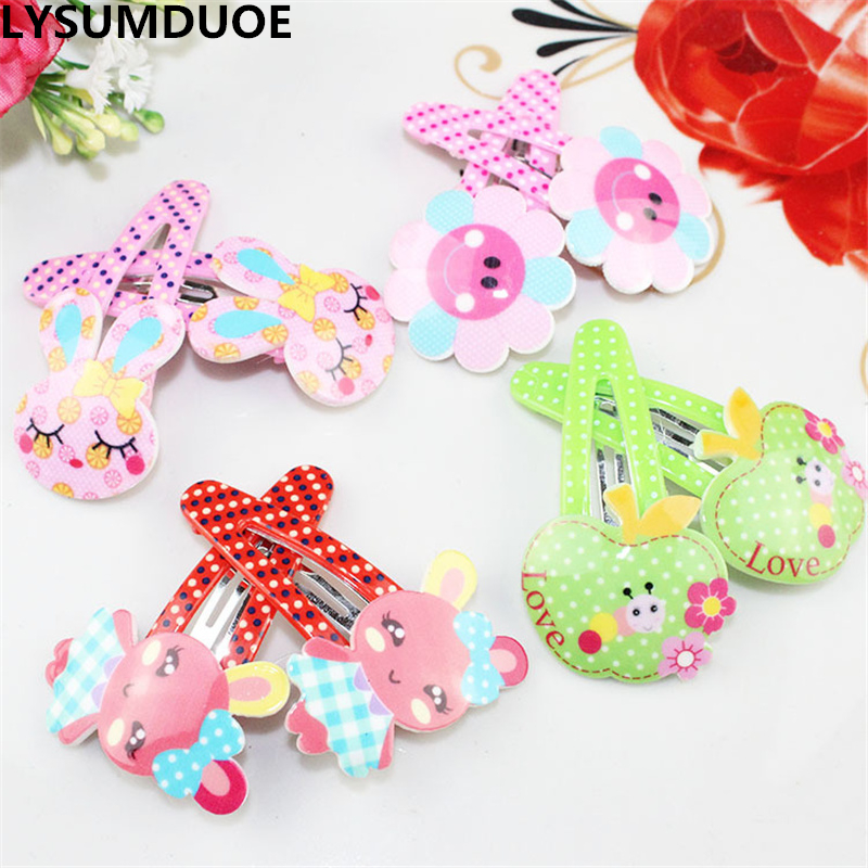 LYSUMDUOE Girl Hair Clip New Bow Flower Barrette Acrylic BB Clips Fruit Apple Hairpin Rabbit Floral Jewelry Hair Accessories 1pc fashion lovely women girl metal leaf hair clip crystal hairpin barrette headwear christmas party hair accessory 2016 hot