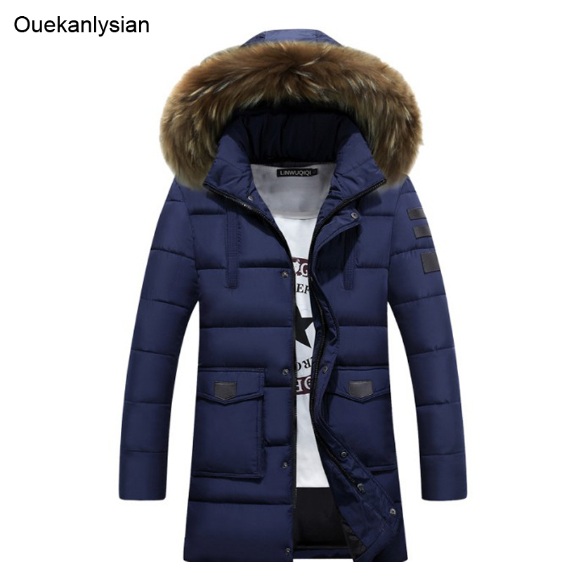 Ouekanlysian Fashion Outwear Men Long Cotton Padded Parka Coats Hat Detchable Fur Collar Hooded Casual Parka Jacket With Hoody ouekanlysian winter parka jacket men outwear thick fur hooded long down cotton parkas coat slim fit hat detachable parka green