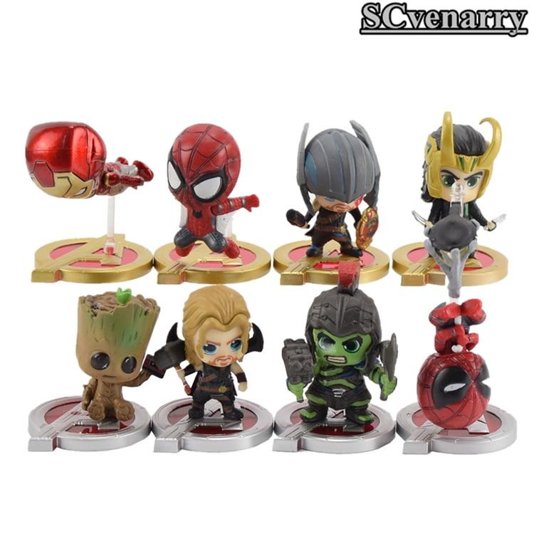 Toys & Hobbies Flight Tracker 8pcs/set The Avengers Iron Man Hulk Thor Spider Man Loki Thanos Pvc Action Figure Model Toy Doll Gift For Kids