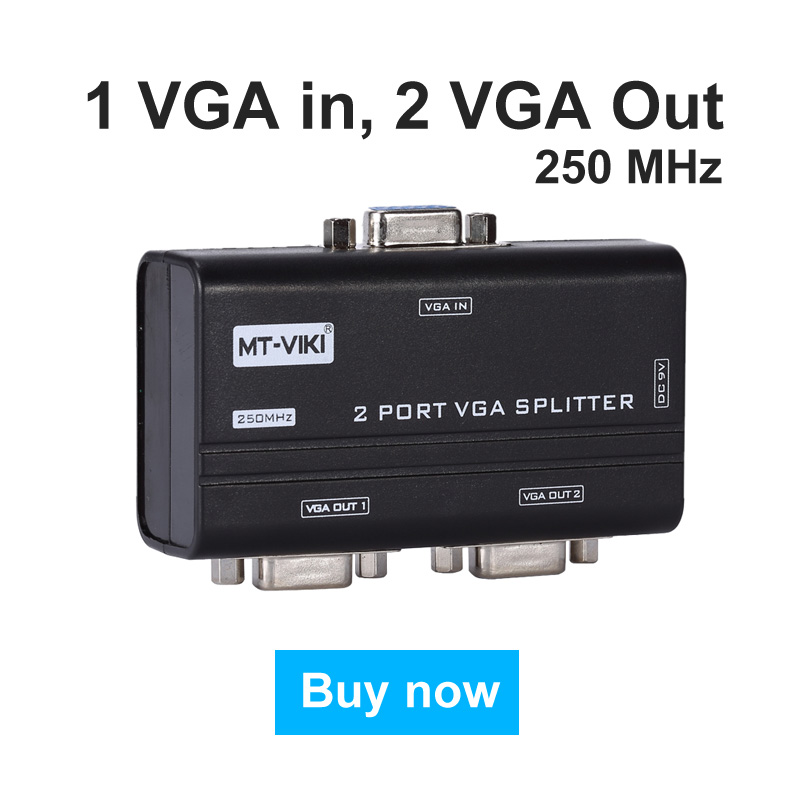 MT-VIKI 2 Port VGA Video Splitter Distributor 250Mhz 1 input to 2 Output 1920x1440 for Widescreen LCD Monitors Maituo 2502AS