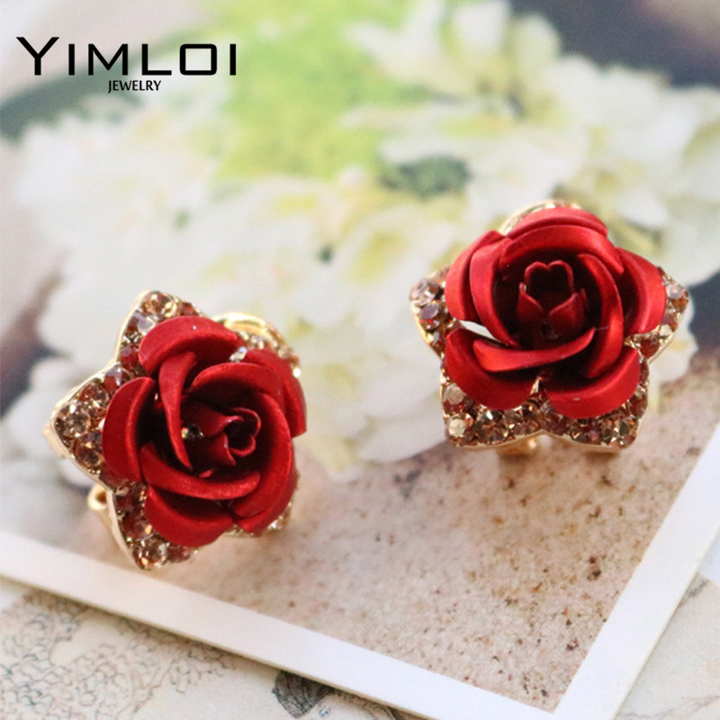 Wholesale New Jewelry 18K Rose Gold Plated Crystal Rhinestone Pearl Flower Grape Stud Earrings High Quality E295 gold earrings for women
