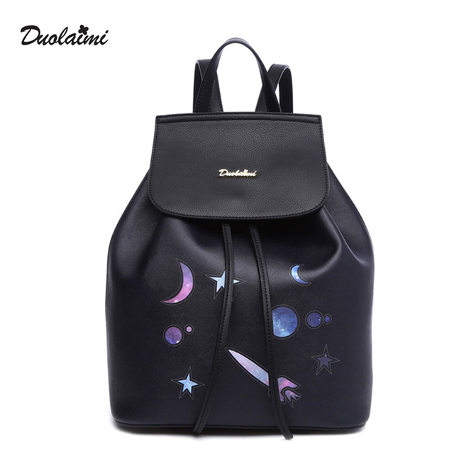 dc4d9db4b77b4 DuoLaiMi Black Backpack Starry Sky Printing Backpack Ladies Bags Casual  School Preppy Style Cool Girl Moon Star Rocket Bullet