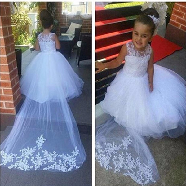 2019 White   Flower     Girls     Dresses   for Wedding Party Ball Gown Cathedral Long Train Sheer Kids   Girl   Pageant Communion   Dresses