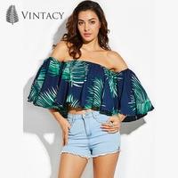 Vintacy Summer Beach Off Shoulder Blouse Shirt Ladies Pleated Ruffles Crop Tops Dark Blue Floral Print