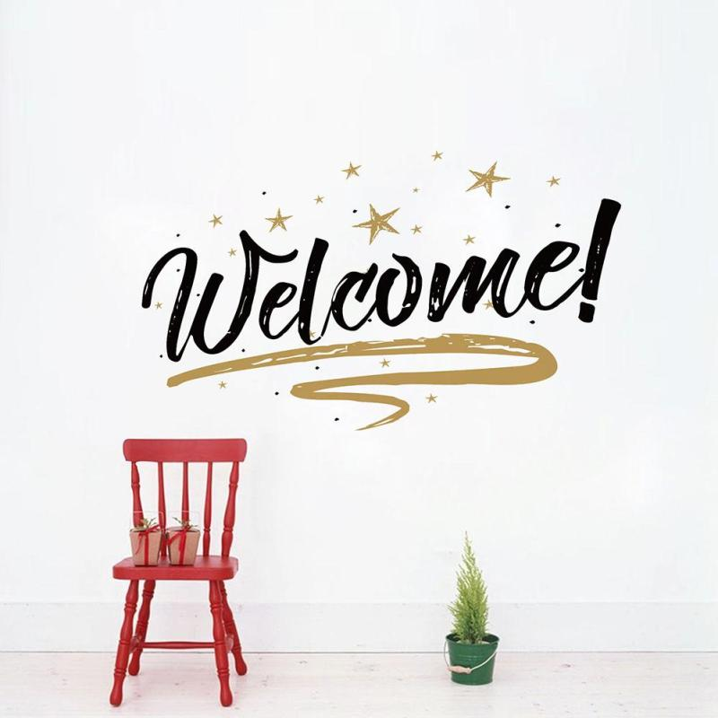 Welcome quote wall stickers decorative removable vinyl wall diy wall decals home decor art mural for office store shop 3 in wall stickers from home