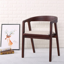 Nordic Wood Dining Chair American Vintage Coffee Restaurant Bedroom Study Casual Simple with Armrest Back Chair
