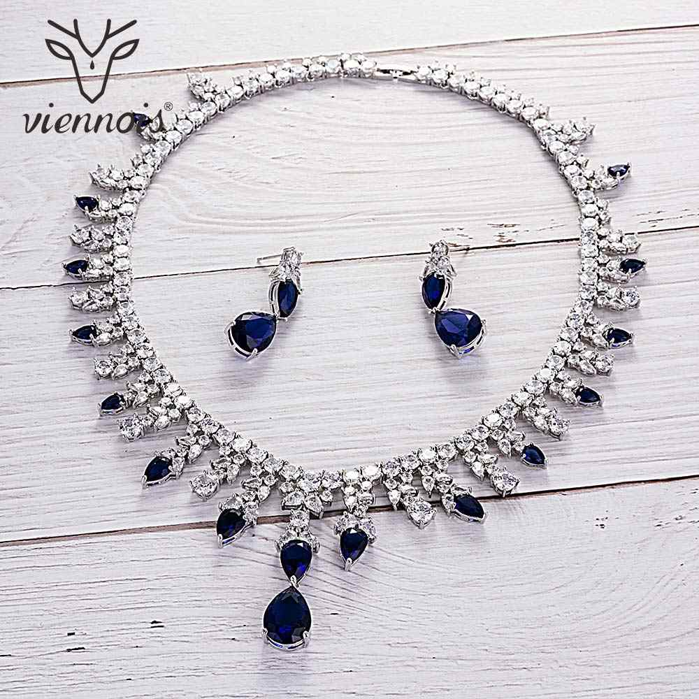 Viennois Green / Bule / White / Red Color Necklace Set For Women Cubic Zirconia Dangle Earrings Wedding Jewelry Set 2019