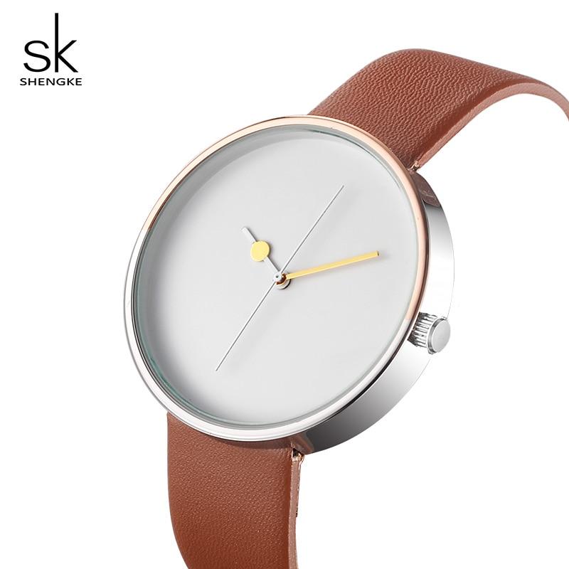 Shengke Creative Women Dial Watches Top Brand Luxury Quartz Watch Women Leather Wristwatch 2018 SK Relogio Feminino #5043