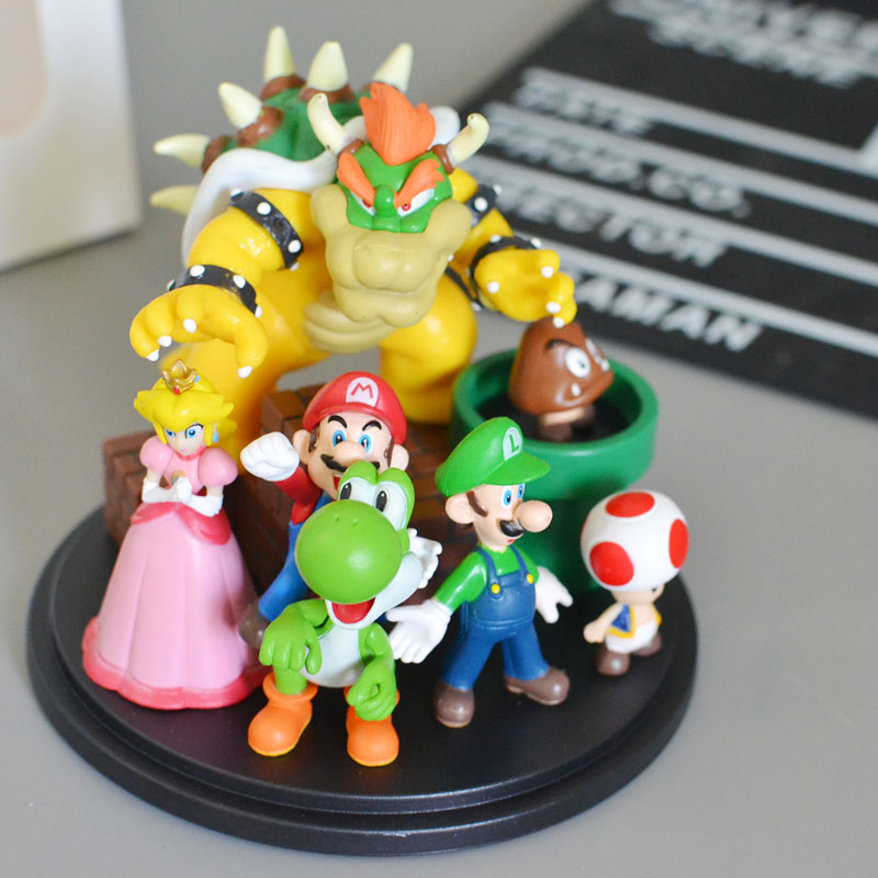 Super Mario Bros Bowser Princess Peach Yoshi Luigi Toad Goomba PVC Figure Collectible Model Toy цена