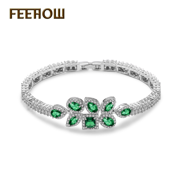 FEEROW Top Quality Emerald White Cubic Zirconia Bracelets Bangles Unique Oval Imitation Diamond Jewelry For Women Party FWBP016