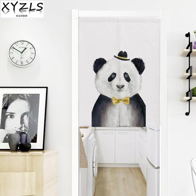 Cartoon Linen Cotton Boy Bedroom Curtains Embroidery: XYZLS Customized Cartoon Panda Cotton Linen Kitchen