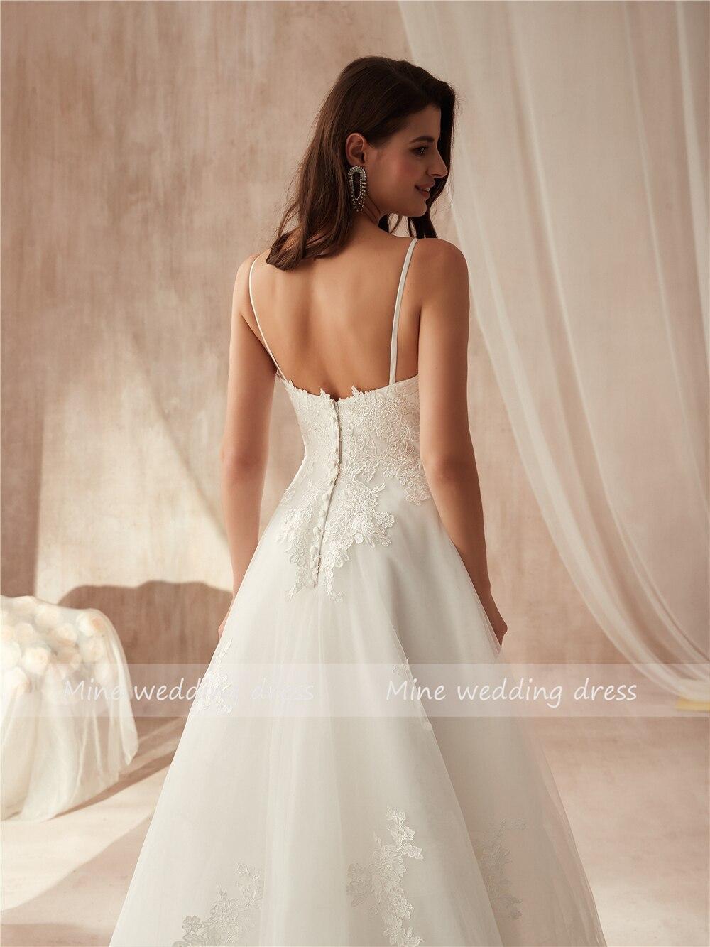 Image 5 - Spaghetti Straps Applique Lace A line Wedding Dress vestido de festa longo de luxo Bridal Gowns New Fashinon 2019 New-in Wedding Dresses from Weddings & Events