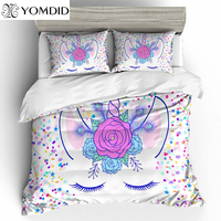 3D Printed Duvet Cover Sets Cartoon Unicorn Pattern Duvet Cover With Pillowcases Multi size Bedding Set Polyester Bedding Set