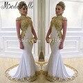 Arábia árabe vestidos de Noite Vestidos de Alta Neck Robe De Soiree Vestido Com Ouro Apliques Longos Vestidos Sereia Vestidos Formais