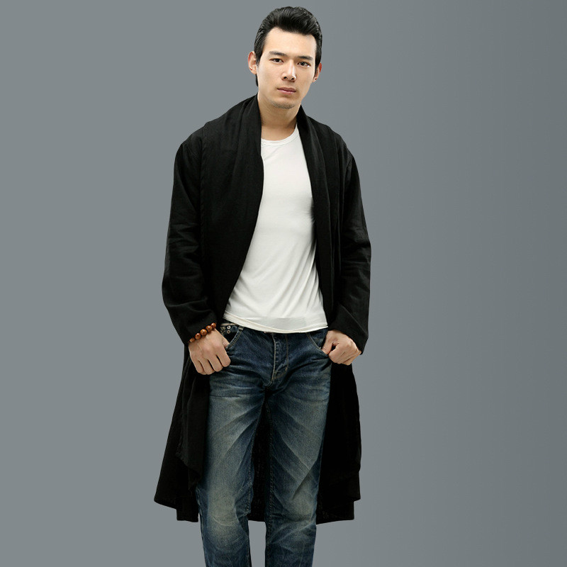 Men linen trench coat long shawl cardigan high quality street men ...