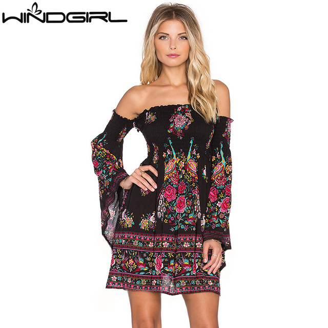 498651f388c1 WINDRIRL women strapless dress flare sleeve off shoulder sexy boho summer  dress casual plus size vestido