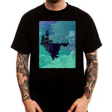 Japan sky castle vaporwave aesthetic art black printed cotton men t shirt
