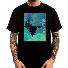 Japan sky castle vaporwave aesthetic art black printed cotton men t-shirt