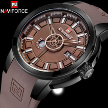 NAVIFORCE Brand Mens Quartz Wach Men 30M Waterproof Sports Waches Coffee Rubber Band Calendar Wristwatches Relogio Masculino