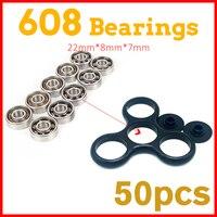 50Pcs 608 Bearing For Led Light Batman Stress Whee LEDC Hand Tri Spinner Fidget Spinners Lot