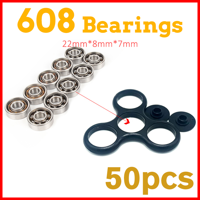 50Pcs 608 Bearing For led light batman stress Whee lEDC hand tri spinner fidget spinners lot tri-spinner toy For Autism and ADHD ynynoo edc hand spinner led tri spinner fidget toy plastic for autism and adhd rotation anti stress wheel toys stres spiner p838