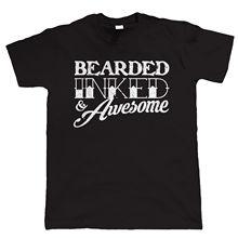 Bearded Inked & Stupenda Divertente da Uomo Barba T Shirt – Hipster Tattoo – Harajuku Tops t shirt Fashion Classic Unique