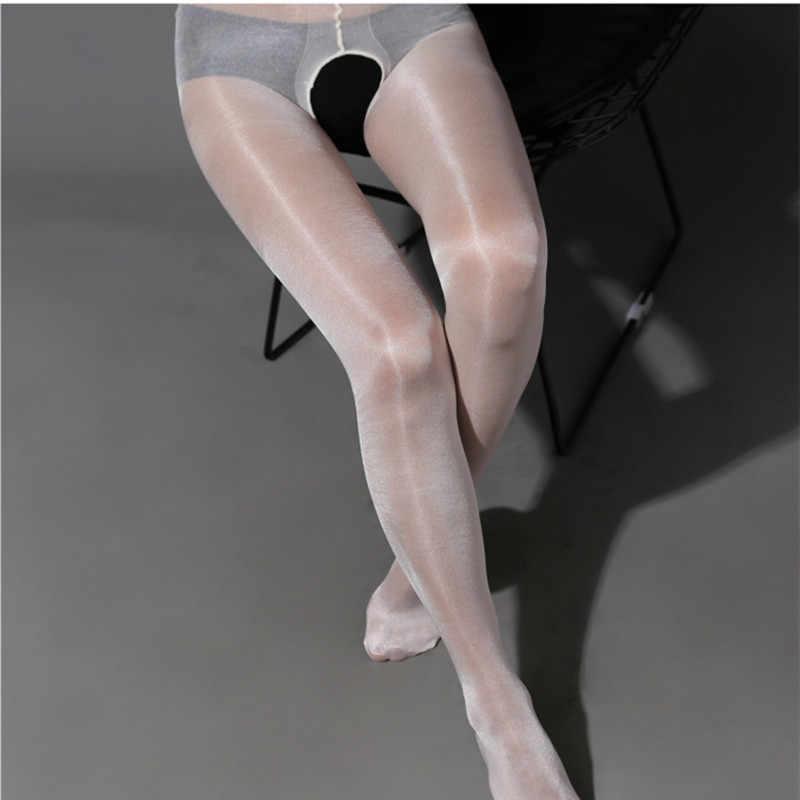 섹시한 여성 스타킹 오픈 가랑이 반짝 이는 오일 라이트 팬티 스타킹 스타킹 Collant Femme Medias De Mujer Femme 밝은 실크 스타킹