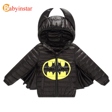 Babyinstar 2017 New Kids Warm Coats and Jackets Cute Batman Style Autumn Winter Boy Coat Parkas Children's Down Jacket For Girl
