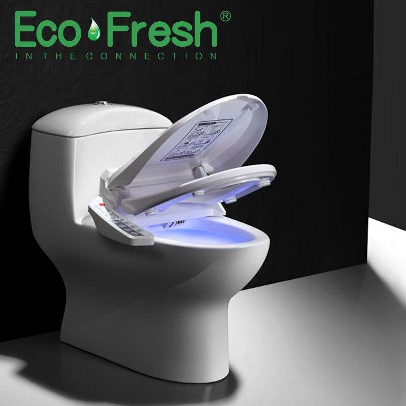 Ecofresh siège de toilette intelligent allongé Bidet électrique couverture chaleur lumière LED lavage massage à sec homme femme enfant oldman