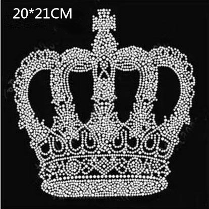 2pc / lot Crown patches varm fixa rhinestone design hot fix varm fixa rhinestone motivjärn på överföringsmotiv för skjorta