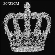 Free ship(2pc/lot) crown design hot fix rhinestone motif iron on transfers