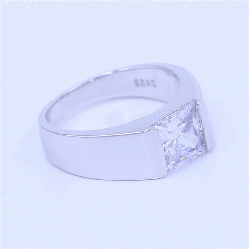 Vecalon Роскошная Ювелирная Свадебная лента кольцо для мужчин 4ct 5A Циркон cz стерлингового серебра 925 Обручальное модное кольцо для пальца ювелирные изделия