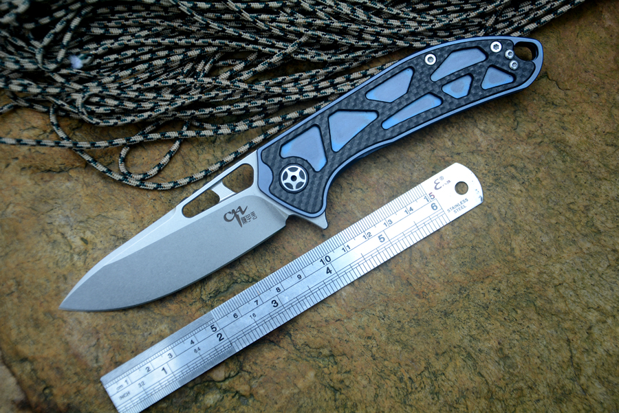 CH 3509 Folding knife D2 blade ceramic ball bearing washer TC4& CF handle outdoor camping hunting pocket knife EDC tools ch ch3504 g10flippe original folding knife d2 blade ball bearing g10 steel handle hunting knife outdoor survival knife edc